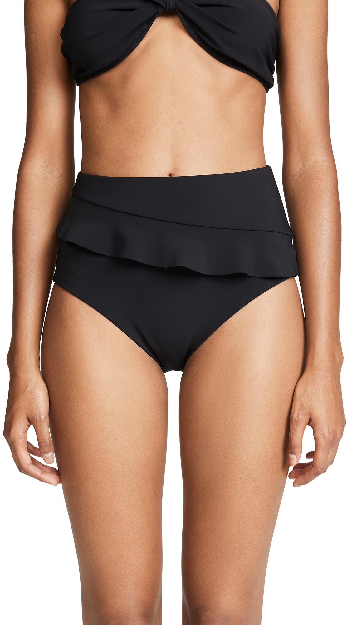 Ruffle trim High-waisted bikini bottoms Lined Shell: 85% polyamide/15% elastane Hand wash Made in the USA