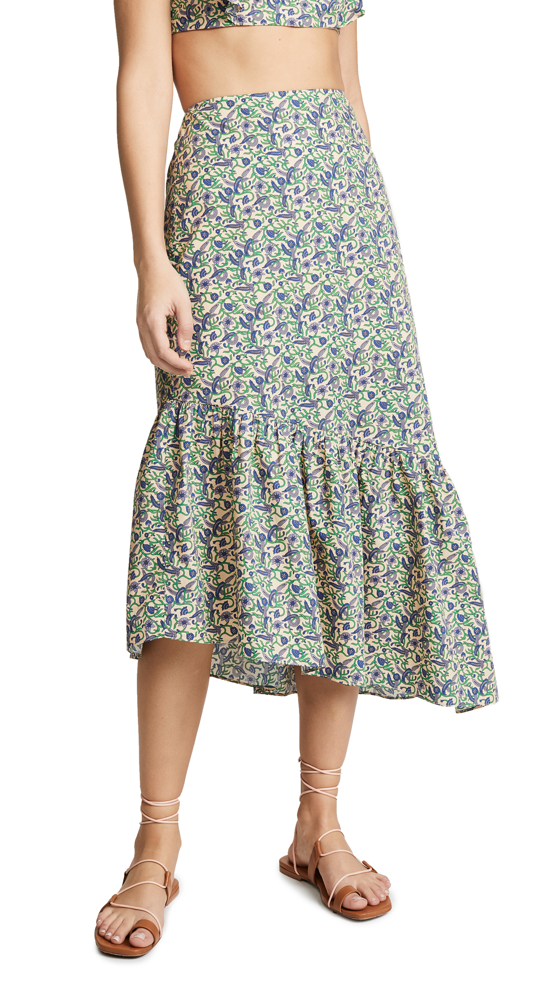 6 SHORE ROAD Floral Skirt in Green Vines