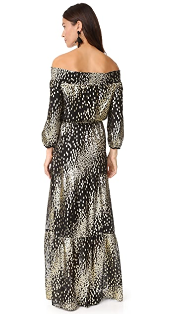 Shoshanna Off Shoulder Metallic Dot Gown