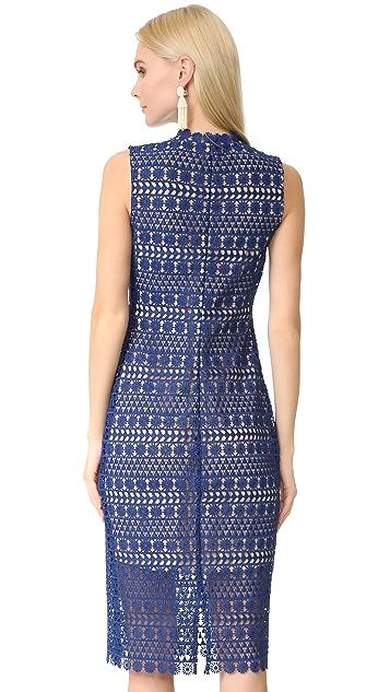 Shoshanna Geo Floral Lace Midi Dress