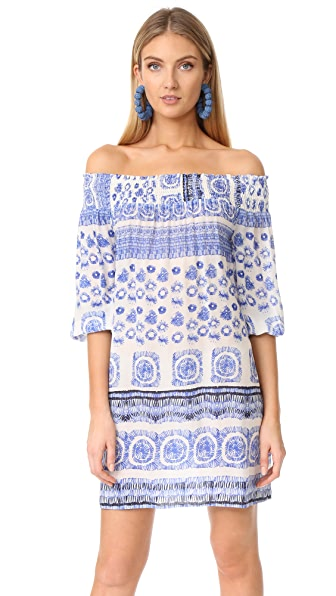 Shoshanna Off Shoulder Cover Up Dress - Marine Blue Multi