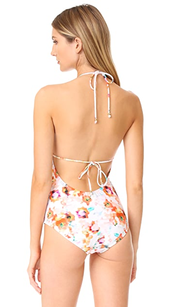 Shoshanna Lattice Ruffle One Piece Swimsuit