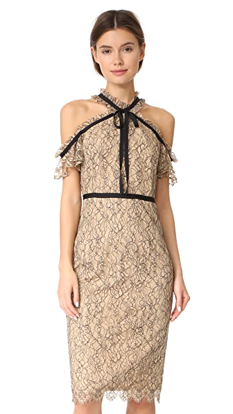 Shoshanna Aleah Midi Dress In Sand/Jet Combo