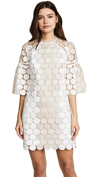 Shoshanna Broome Dress In Ivory/Gold Combo