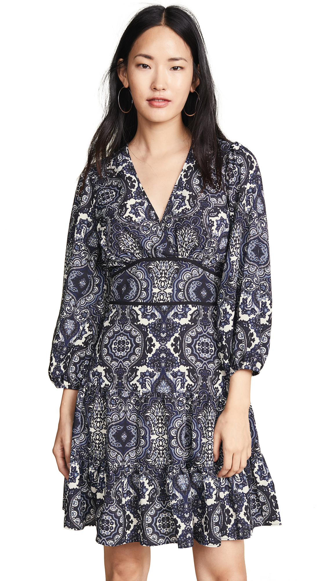 Shoshanna Emery Dress In Navy Multi