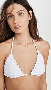 Shoshanna White Eyelet Bikini Top