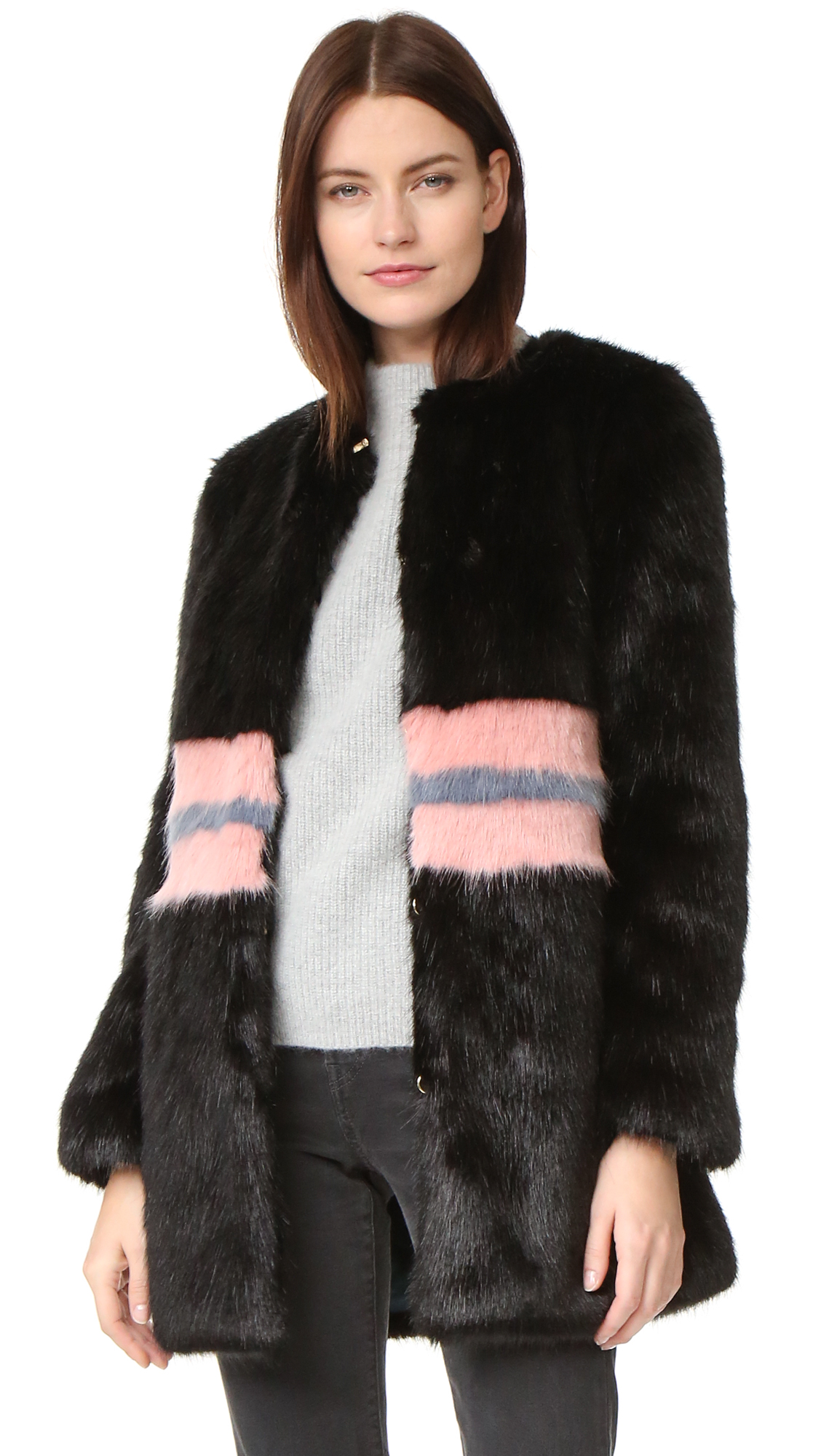 Description NOTE: Sizes listed are UK. Please see Size & Fit tab. Sleek, thick faux fur brings a luxe feel to this Shrimps coat. Colorful stripes add a playful element. On seam hip pockets. Hidden hook and