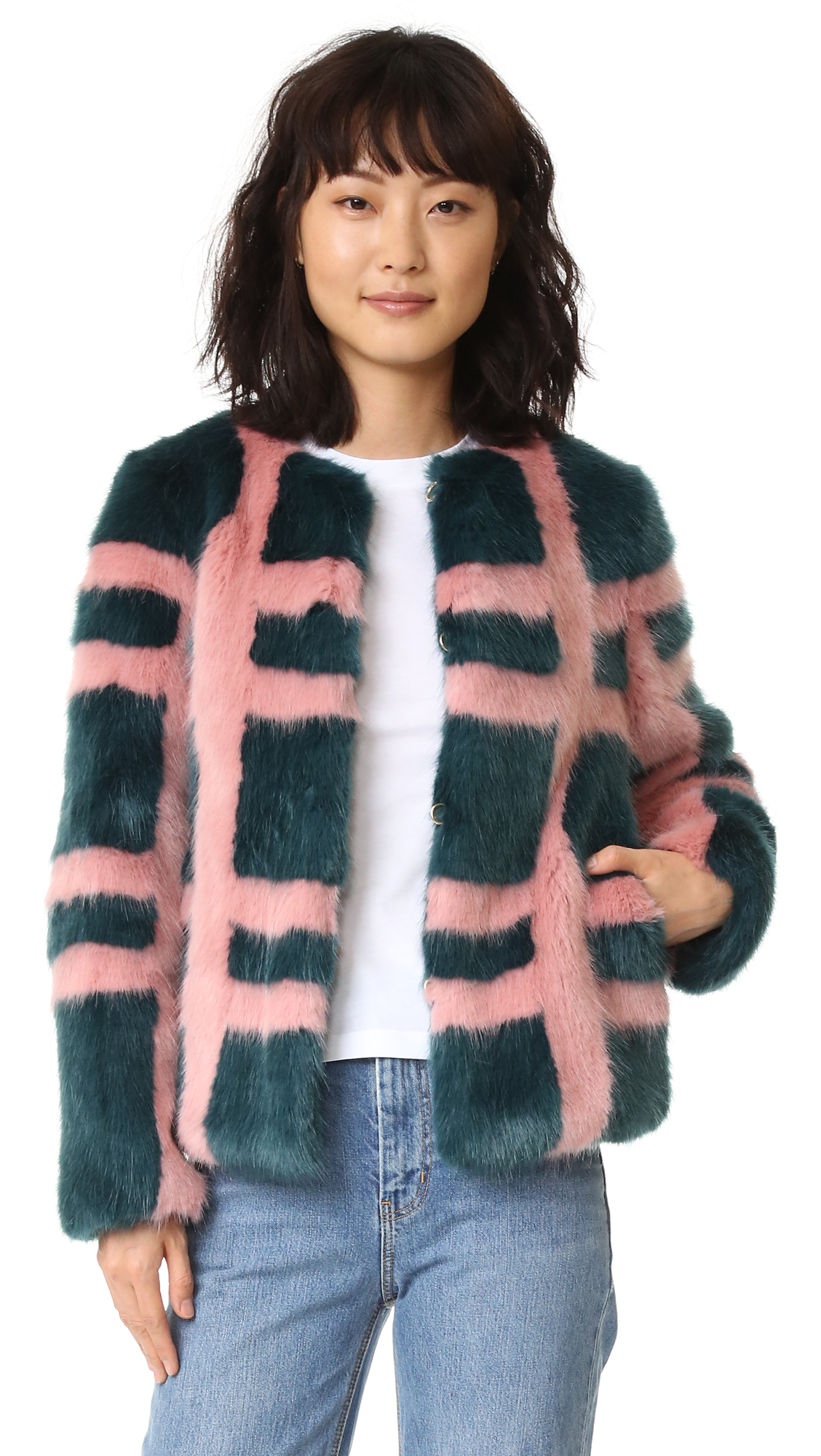 Description NOTE: Sizes listed are UK. Please see Size & Fit tab. A crisp plaid design adds a graphic touch to this faux fur Shrimps jacket. Round neckline and hidden hook and eye closure. On seam hip