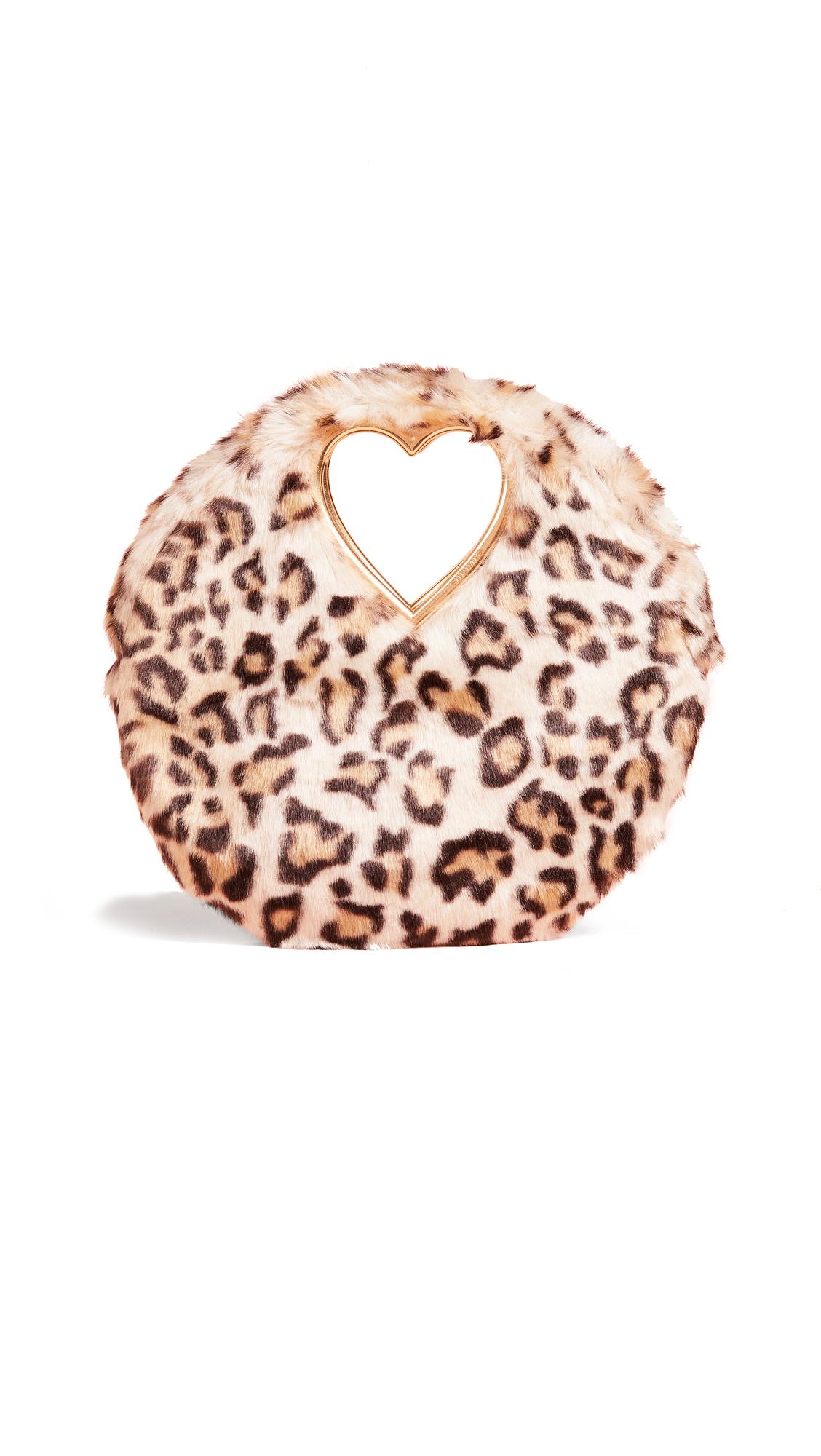 Martini leopard-print faux fur clutch