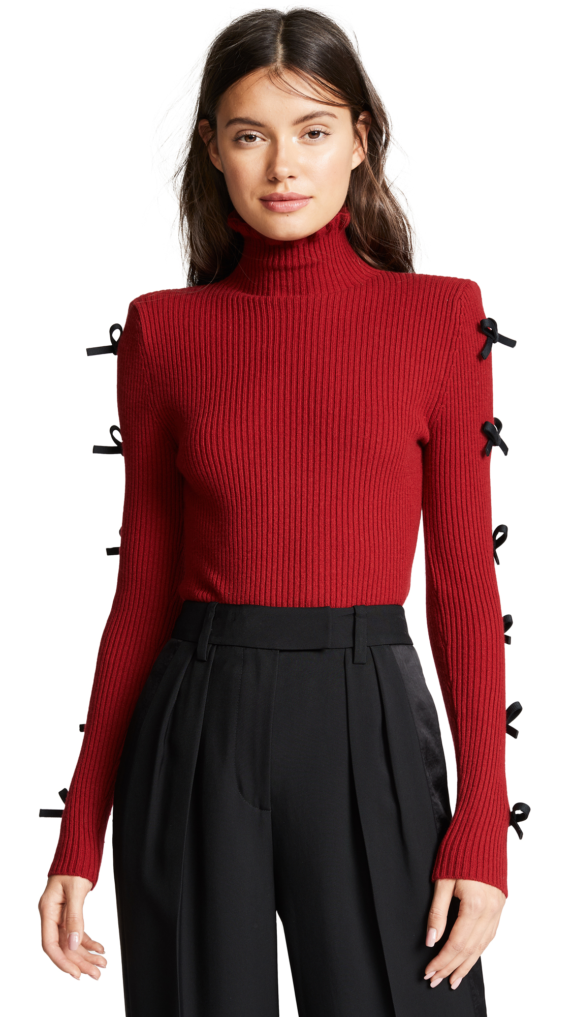 Ribbed Knit With Bows, Burgundy