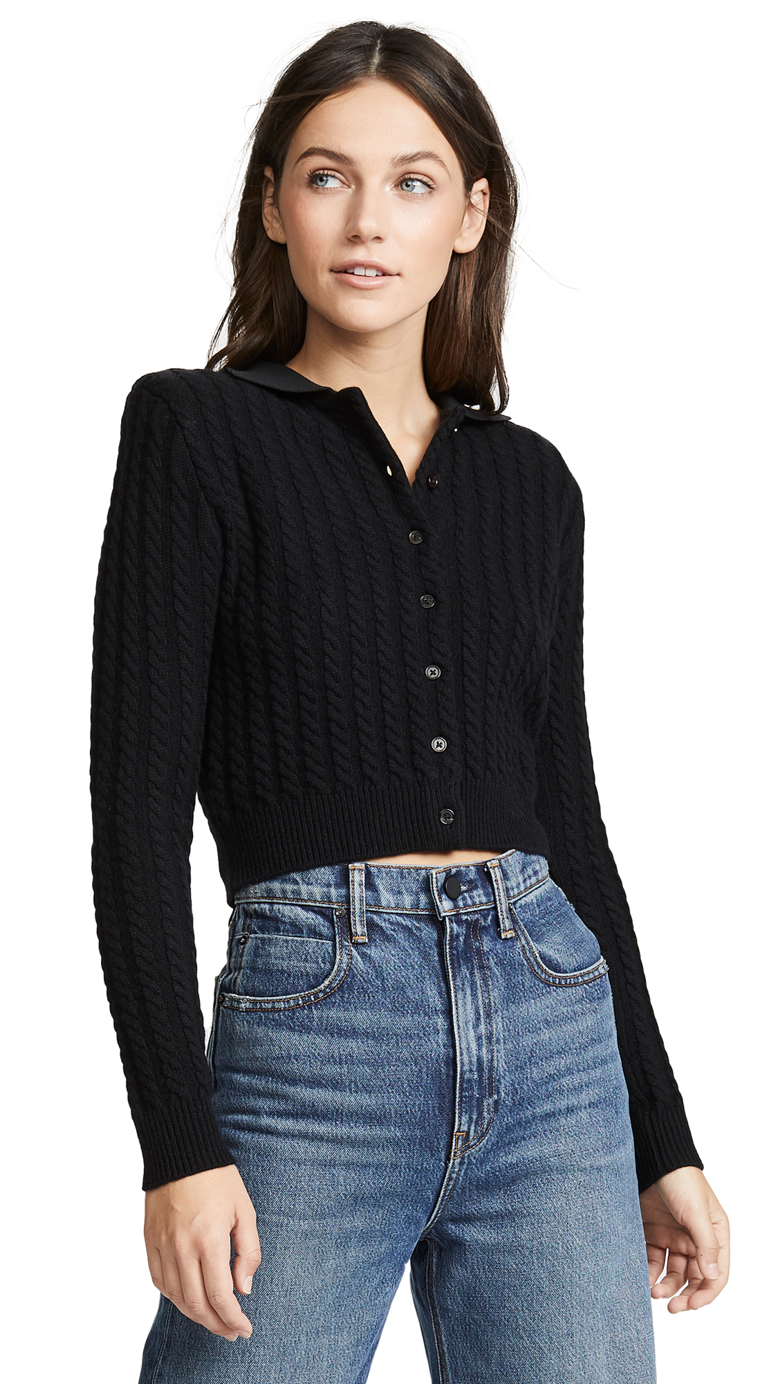 Cable Knit Cardigan, Black