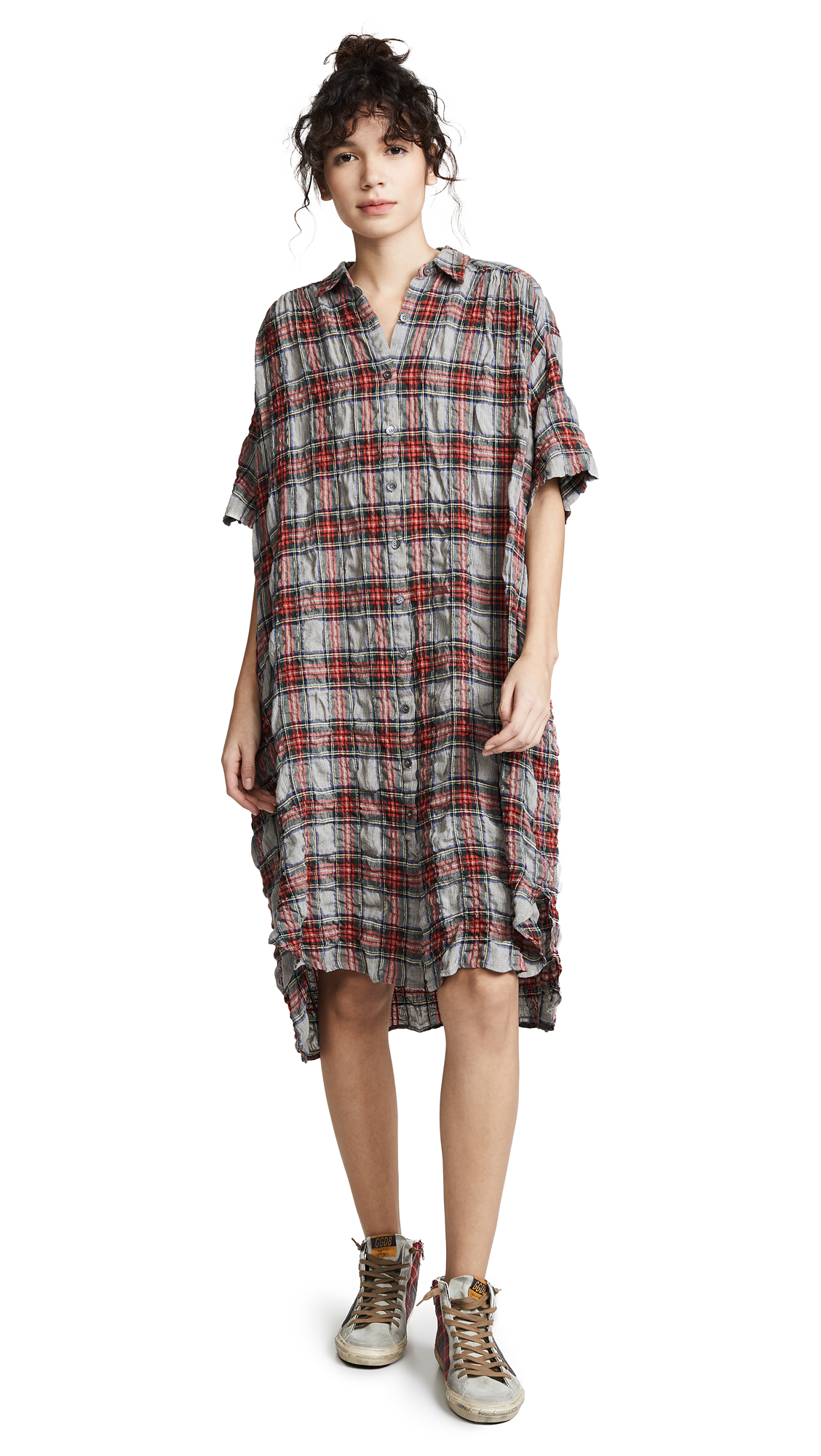 6397 Oversized Shirtdress - Grey Plaid