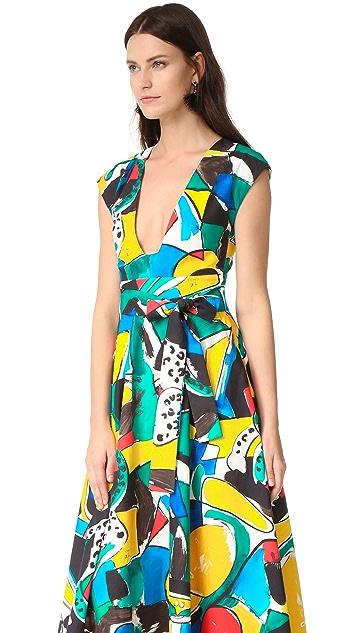 Stella Jean Cap Sleeve Flared Dress