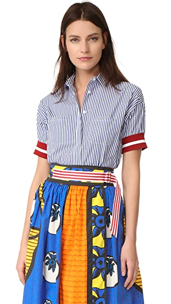 Stella Jean Short Sleeve Striped Shirt