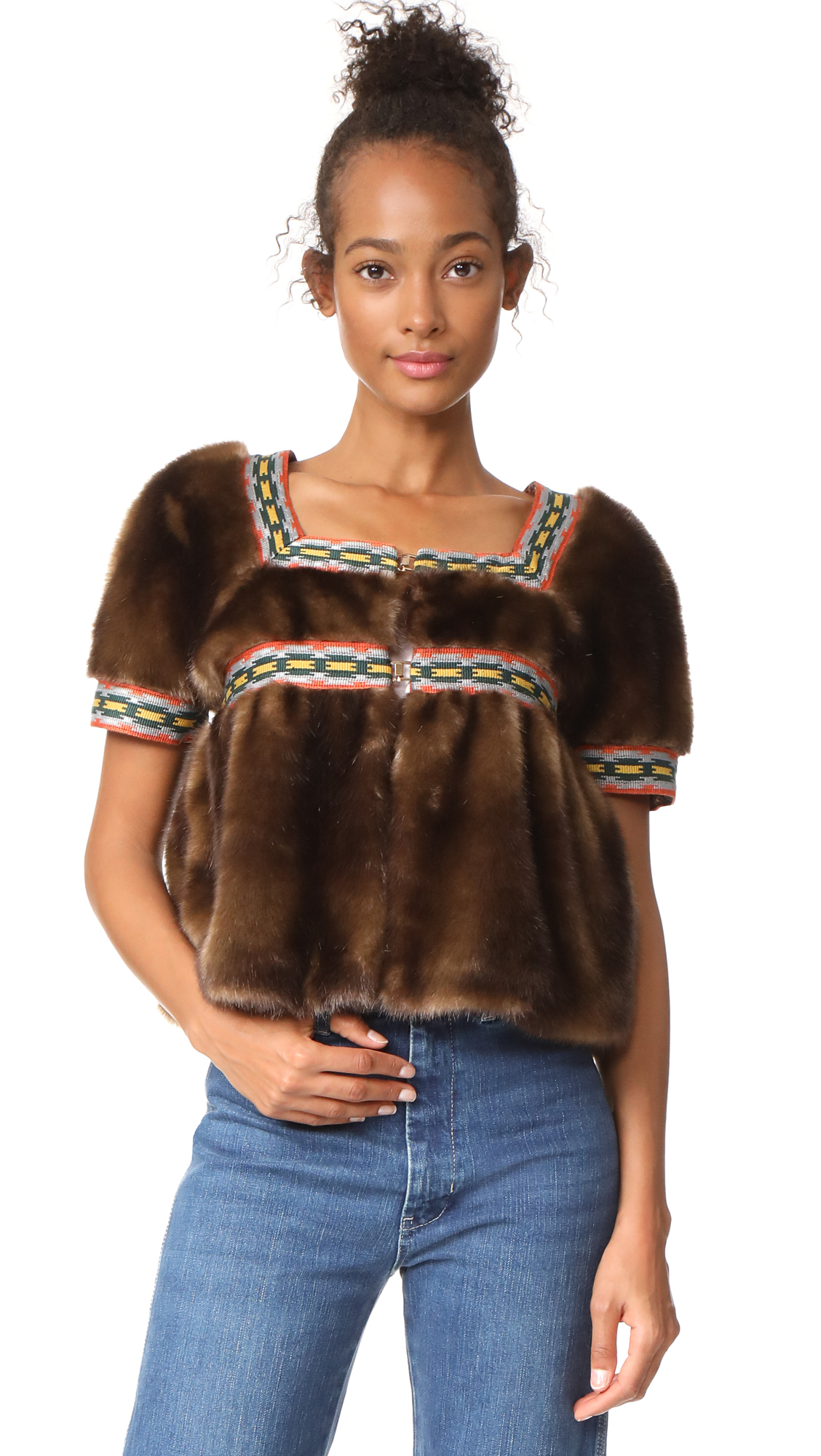 Stella Jean Faux Fur Short Sleeve Jacket - Brown