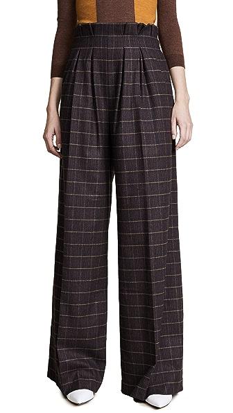 Stella Jean Paper Bag Waist Pants In Brown