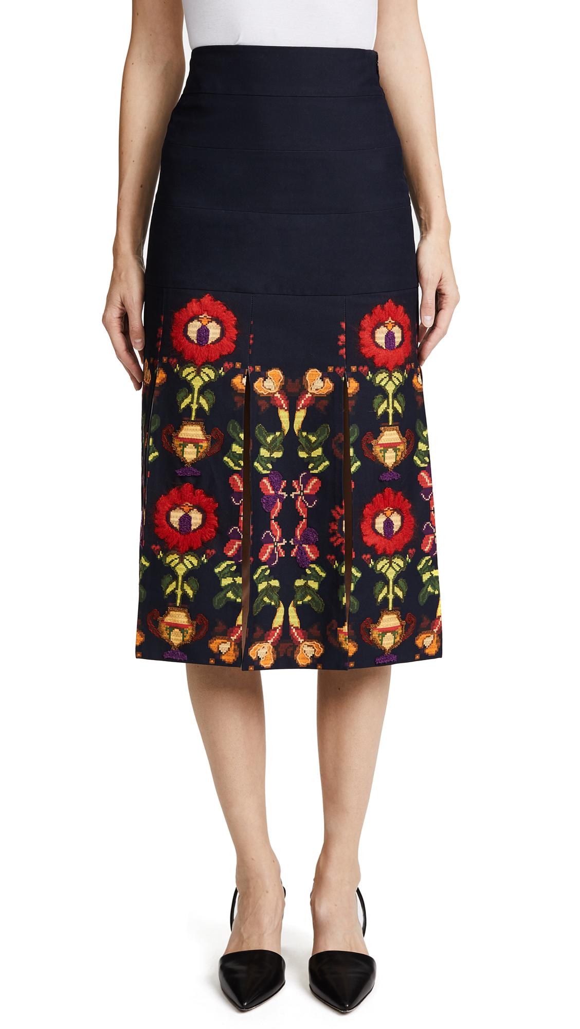 Stella Jean Floral Trompe lOeil Skirt - Black Multi