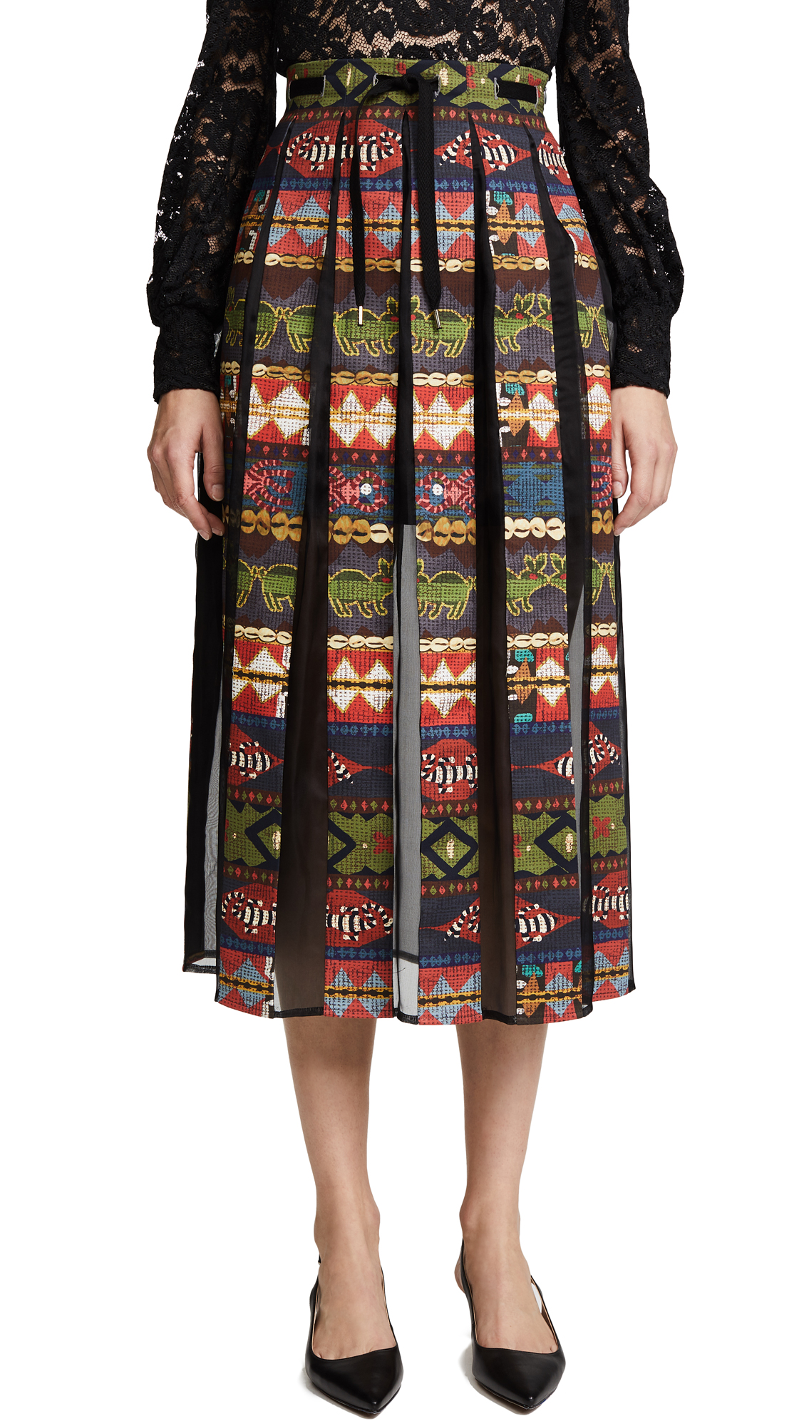 Stella Jean Printed Pleated Inset Skirt - Multi