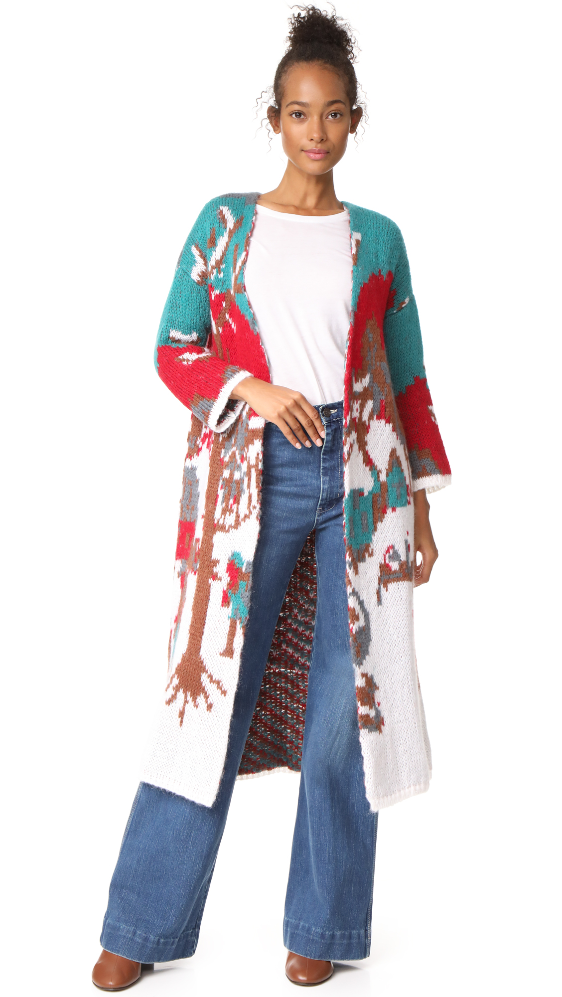 Stella Jean Intarsia Long Cardigan Coat - Multi