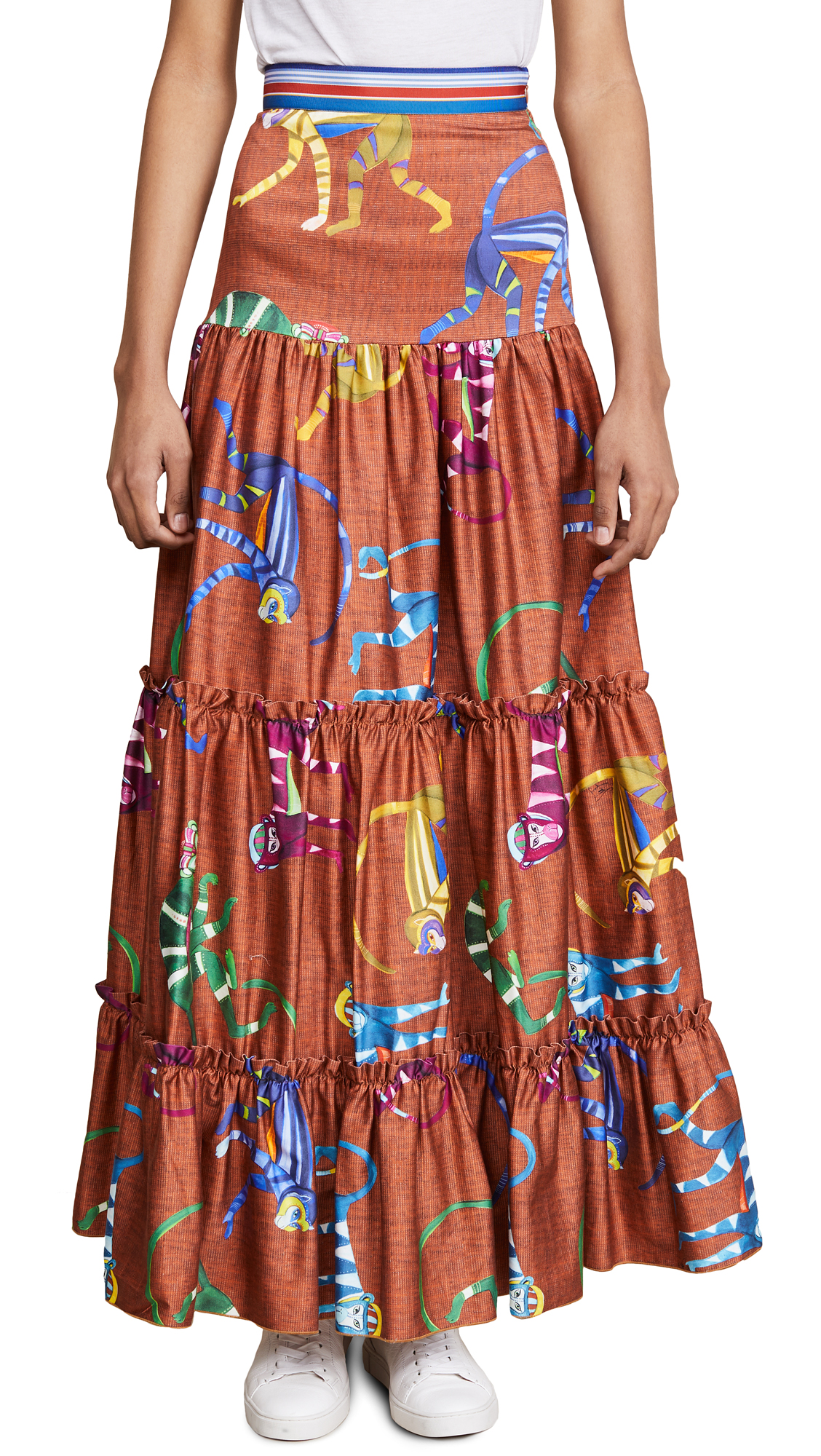 Stella Jean Monkey Print Maxi Skirt - Orange Multi