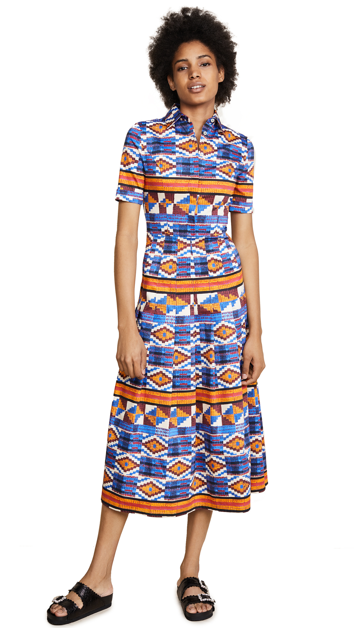 Stella Jean Button Down Print Dress - Kente/Multi