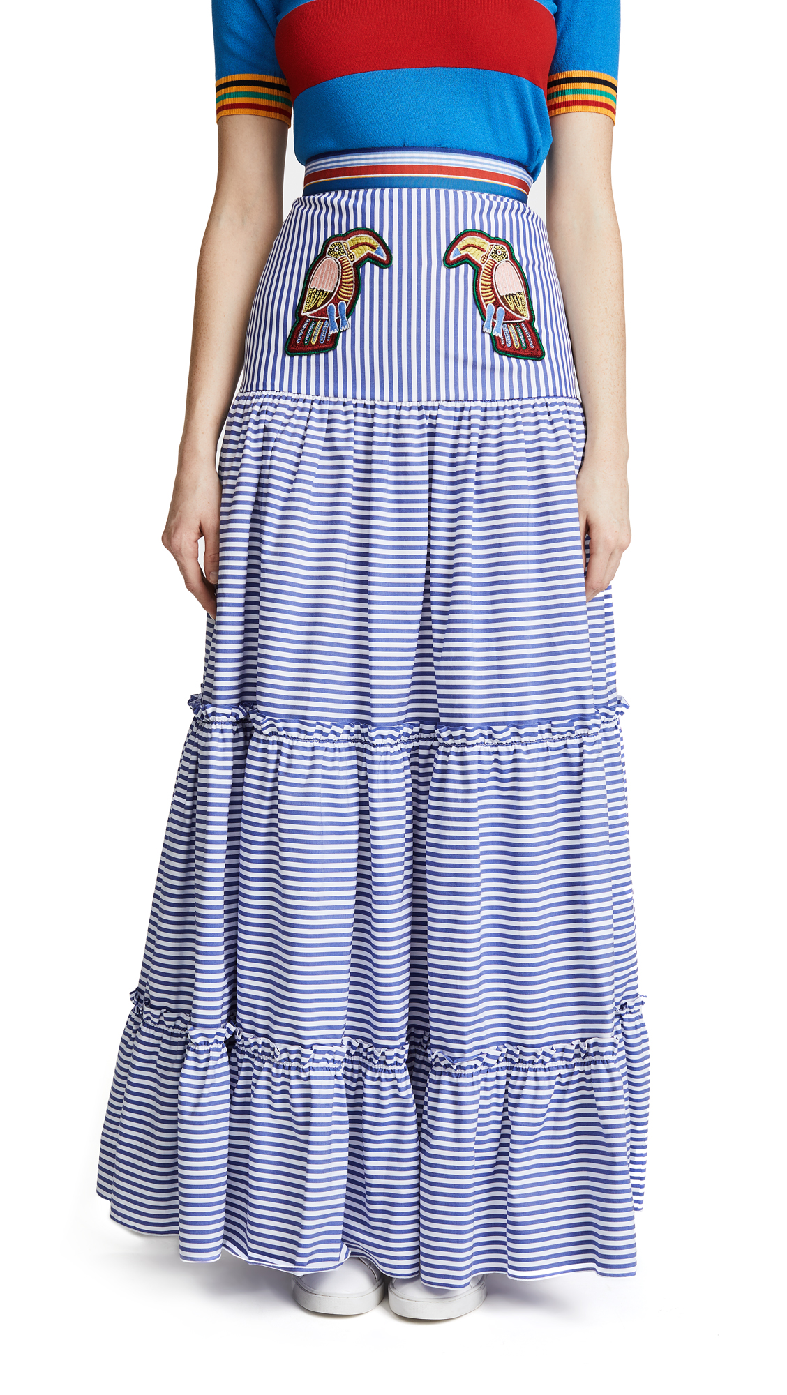 Stella Jean Maxi Tiered Skirt with Parrots - Dark Blue Stripe