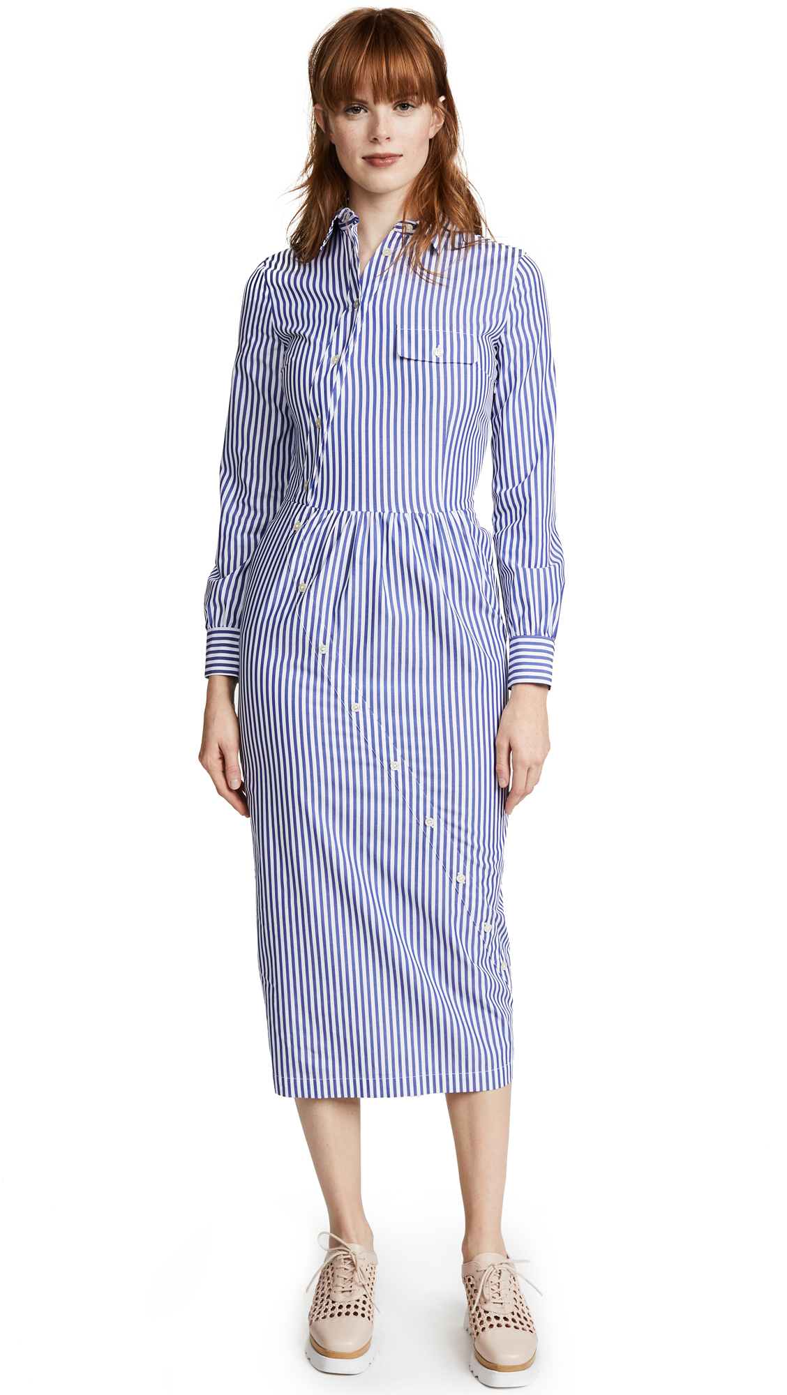 Stella Jean Long Sleeve Shirt Dress - Dark Blue Stripe