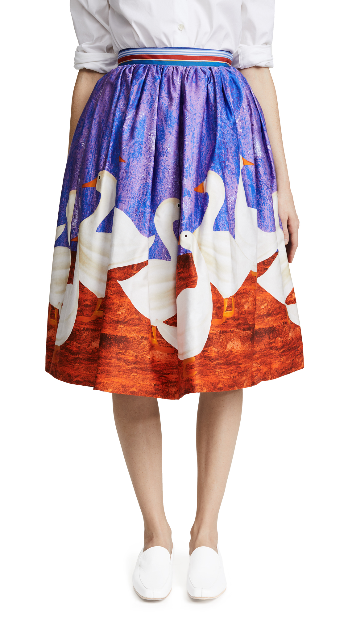 Stella Jean Duck Print Circle Skirt with Crinoline - Purple/Red