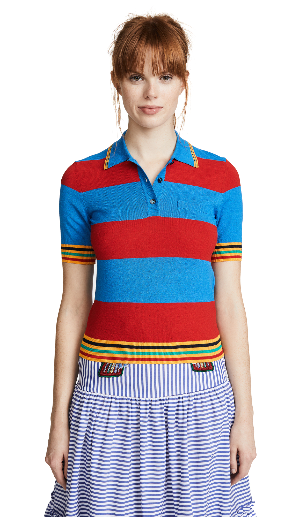 Stella Jean Striped Collared Shirt - Red/Blue