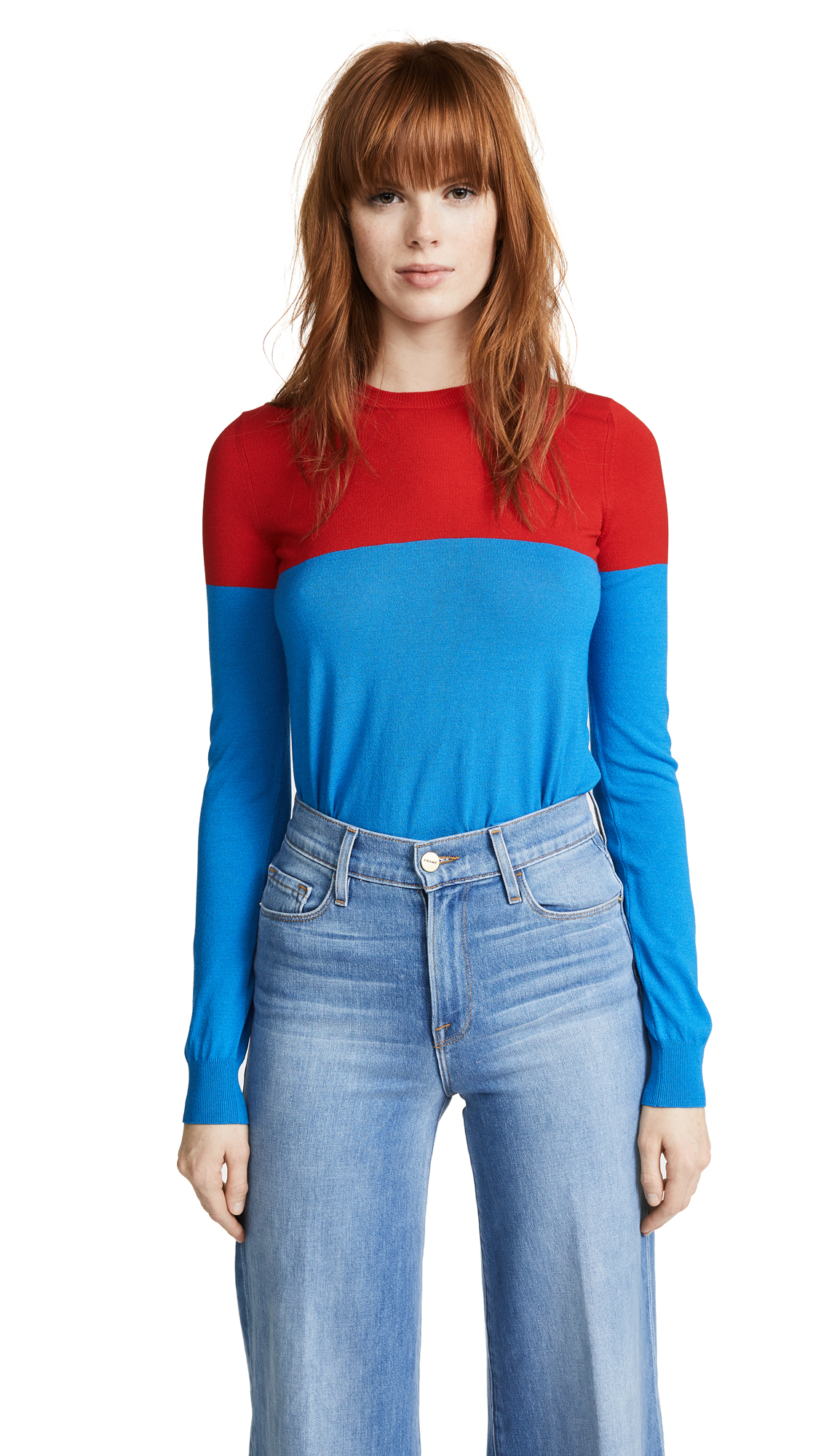 Stella Jean Colorblocked Long Sleeve Top - Red/Blue