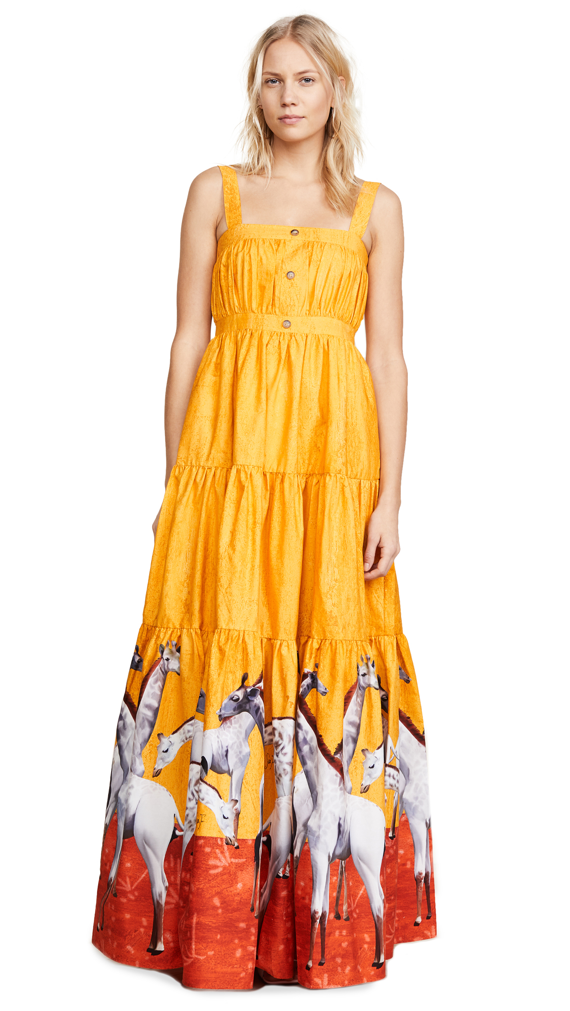 Stella Jean Giraffe Maxi Dress - Giraffe/Yellow