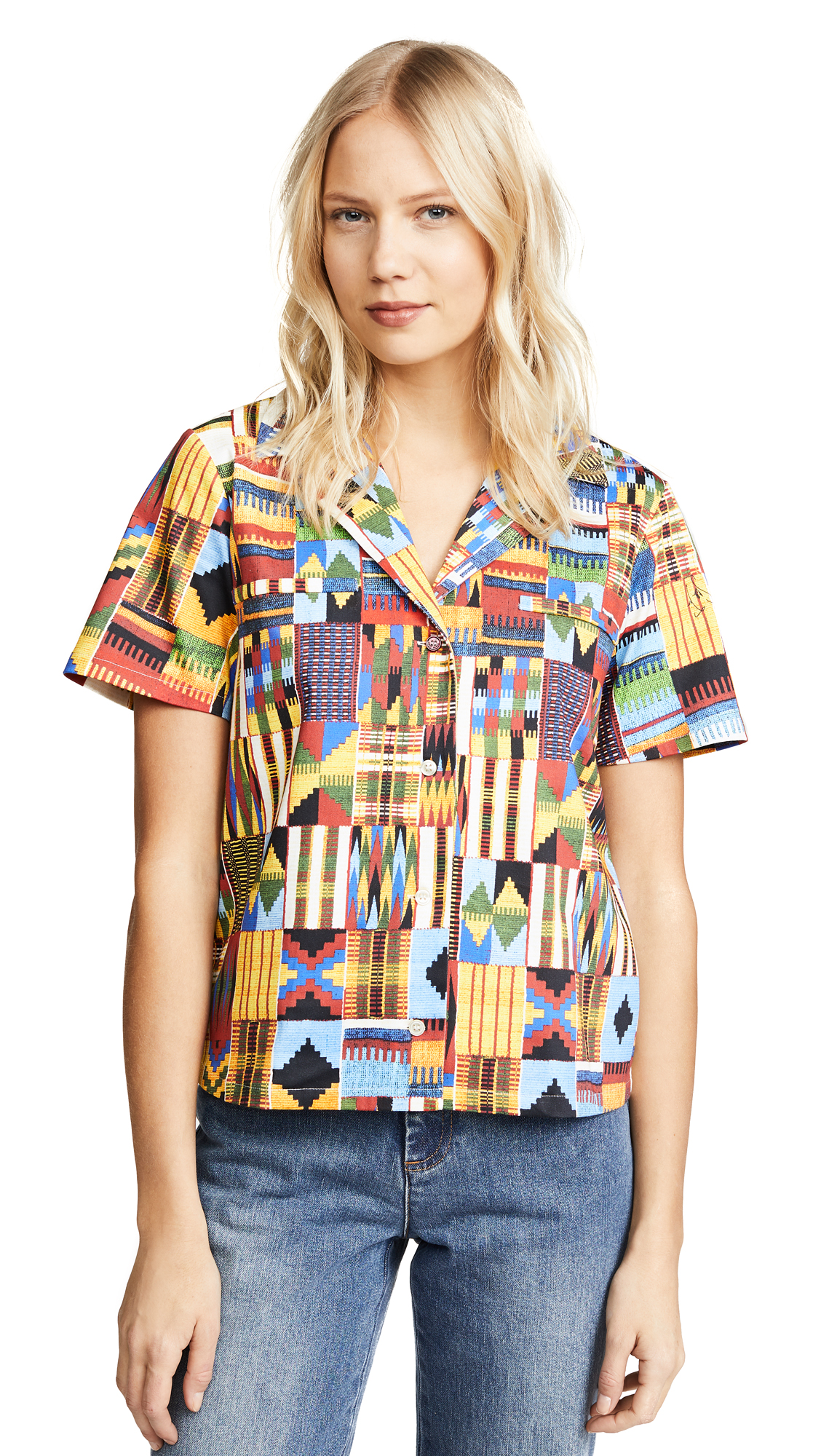 Stella Jean Collared Button Down Shirt - Macro Kente
