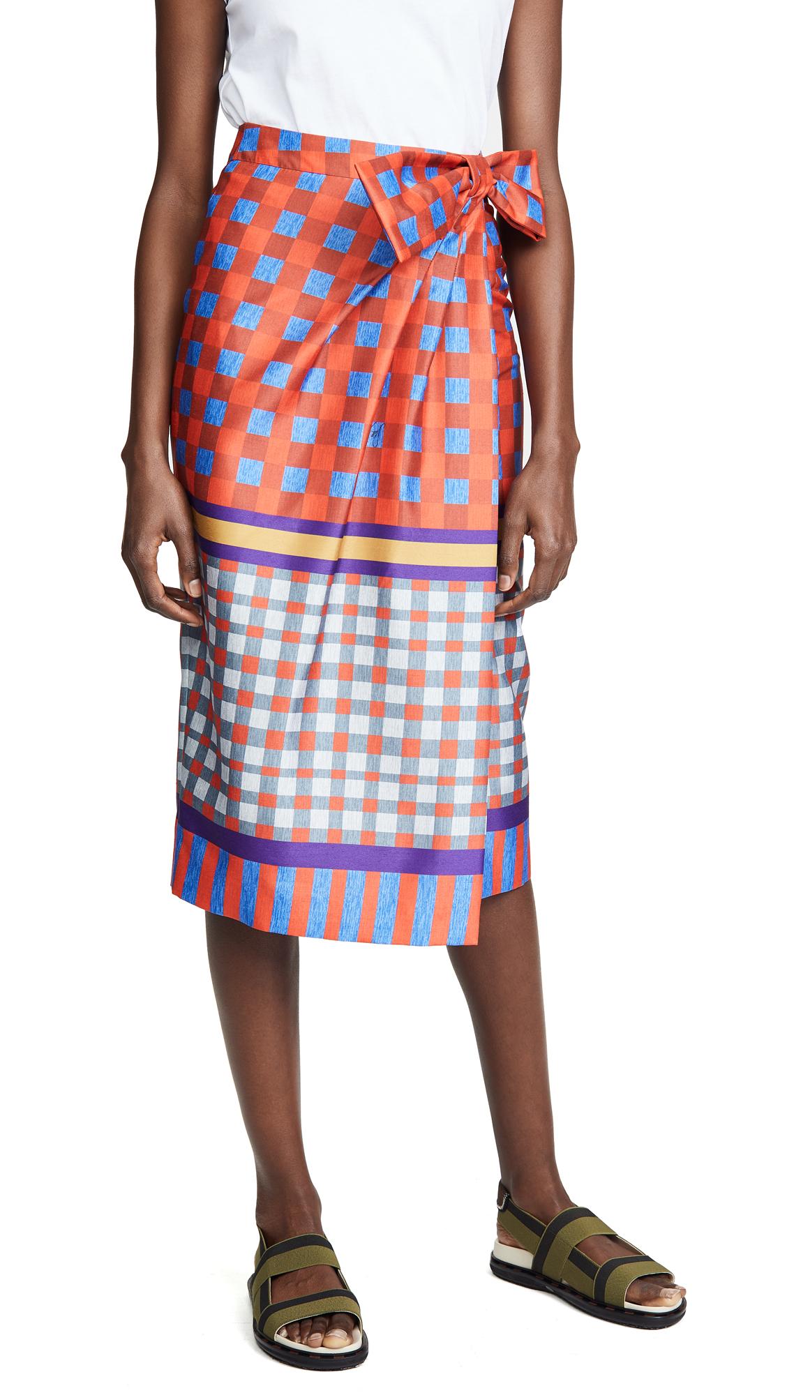 Stella Jean Geometric Wrap Skirt In Red/Blue