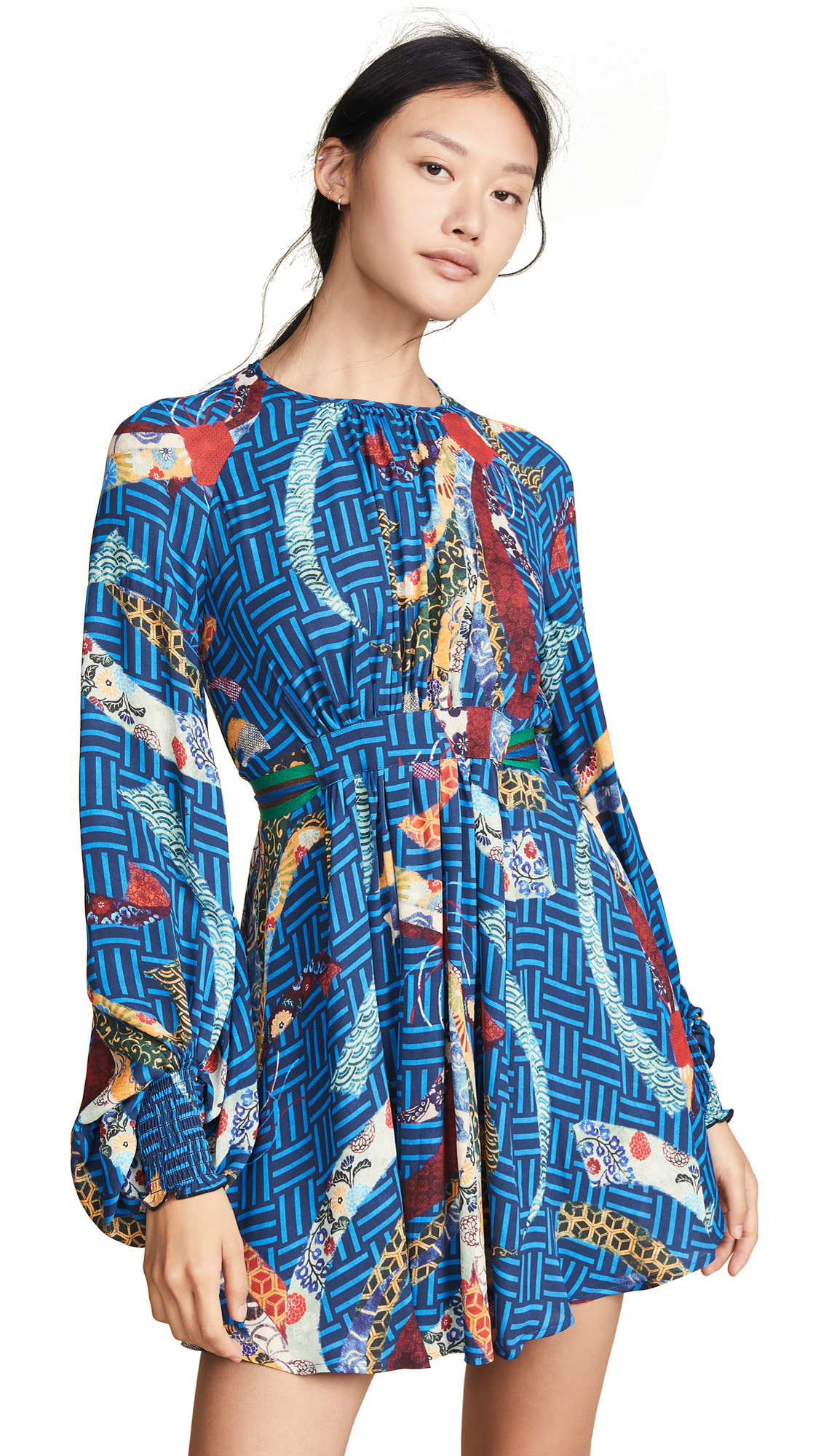 Stella Jean Bird Print Long Sleeve Dress In Blue