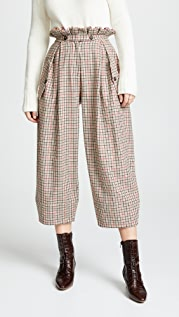 Stella Jean Plaid Wide Leg Trousers