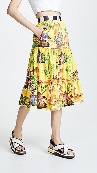 90b58222f9 Stella Jean Tropical Print Tiered Skirt In Yellow Multi | ModeSens