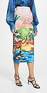Stella Jean Painted Print Pencil Skirt