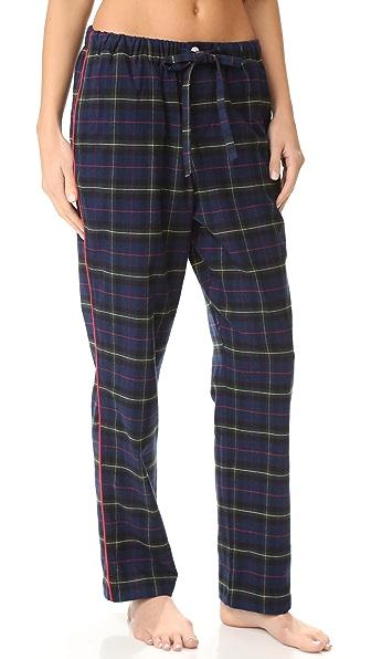 Sleepy Jones Flannel Plaid Marina Pajama Pants - Navy