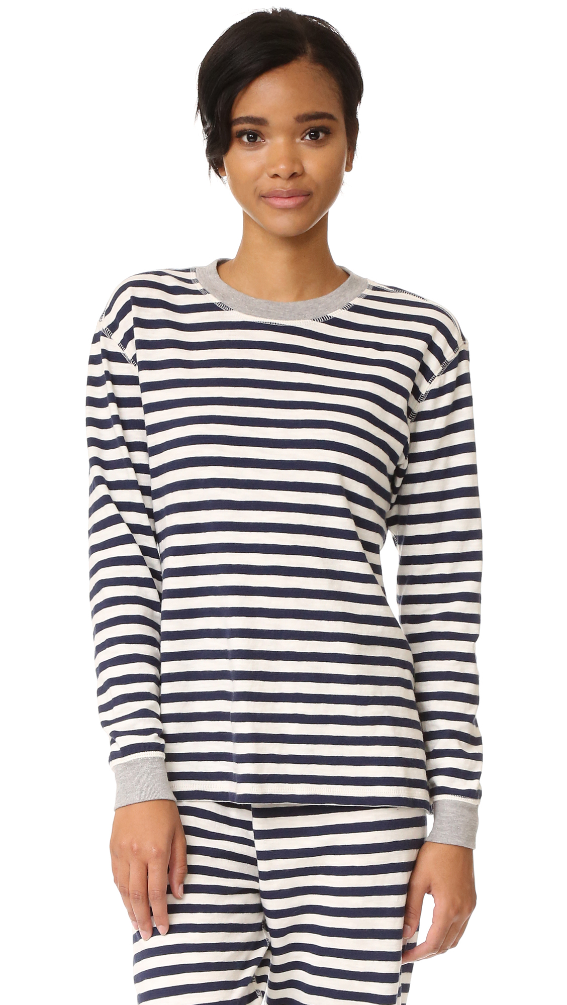 Sleepy Jones Helen Pajama Top - Navy