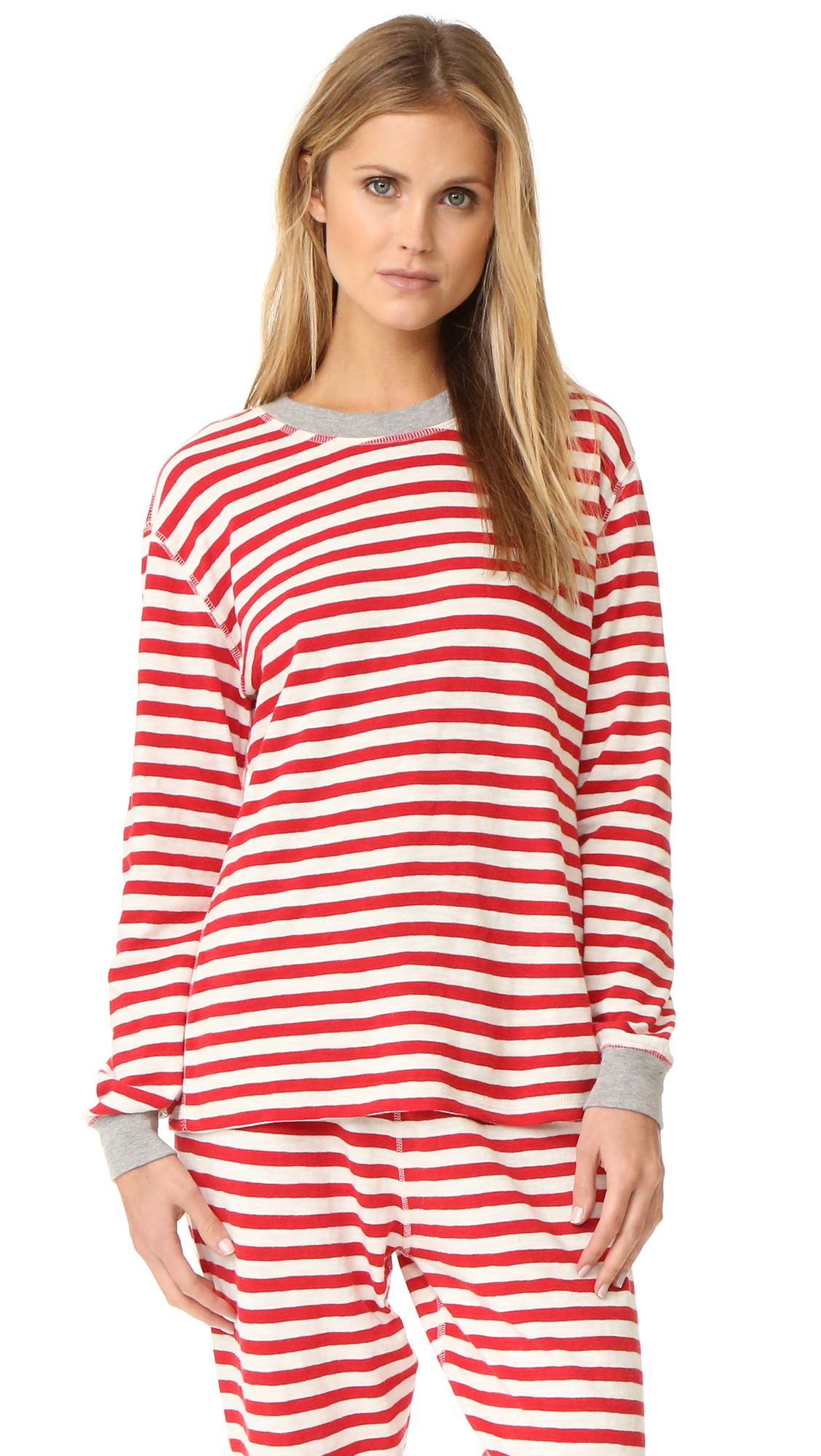Sleepy Jones Helen Pajama Top - Red