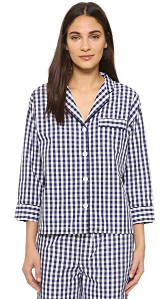 Sleepy Jones Gingham Marina Pajama Shirt In Navy