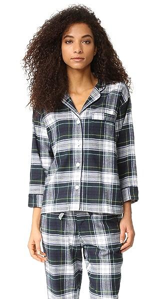 Sleepy Jones Marina Plaid Pajama Shirt - Navy/Green/White