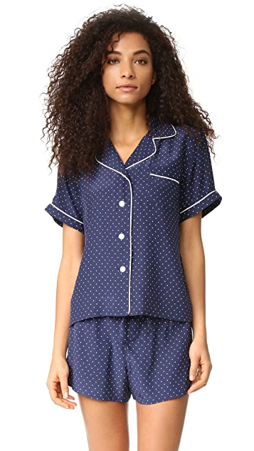 Sleepy Jones Silk Corita Short Sleeve Pajama Shirt