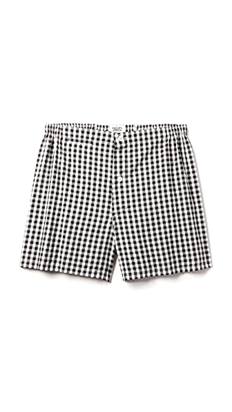 Sleepy Jones Jasper Seersucker Gingham Boxer Shorts