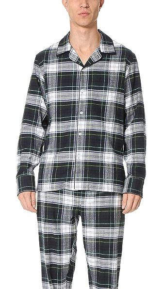 Sleepy Jones Henry Flannel Stewart Plaid Pajama Shirt
