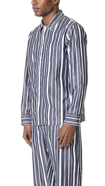 Sleepy Jones Henry Variegated Stripe Pajama Shirt