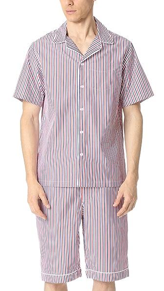 Sleepy Jones Short Sleeve Henry Thin Multistripe Pajama Shirt