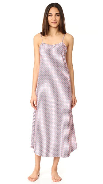 Sleepy Jones Thin Multistripe Ginger Slip Dress - White/Red/Navy
