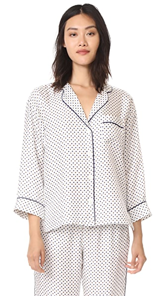 Sleepy Jones Silk Marina Pajama Shirt - Cream