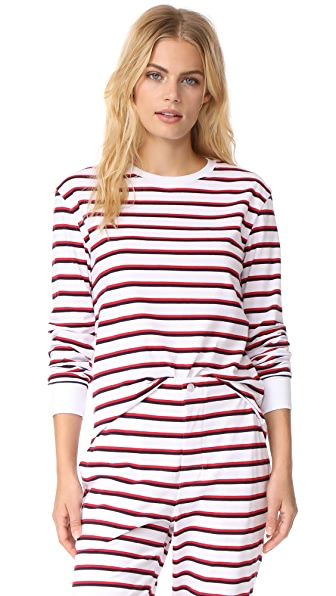 Sleepy Jones Stevie Crew Neck Top In White/Red/Blue